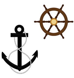 Anchor with rope and wheel vector image vector image