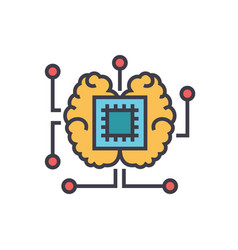 artificial intelligence chip with brain flat line vector image vector image