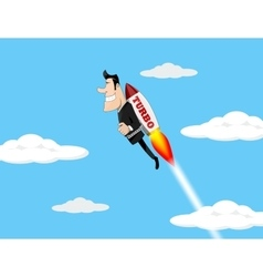 Businessman Flying Over The Chart vector image
