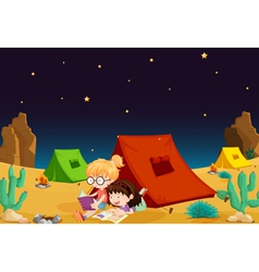 Camping in Desert vector image vector image