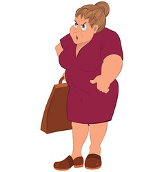 Cartoon fat woman in red dress and grocery bag vector
