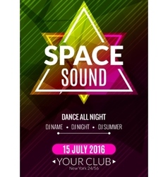 Club electronic space sound music poster musical vector