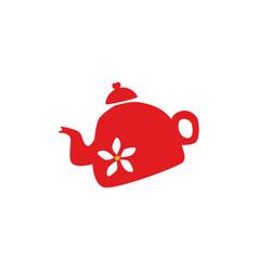 flat ceramic tea kettle silhouette icon vector image vector image