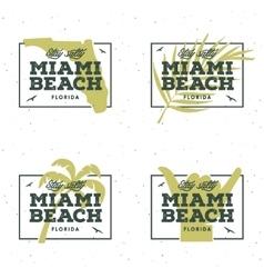 Miami beach florida t-shirt design vintage vector image