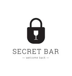 minimalistic secret bar logo with little vector image
