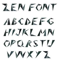 Mosaic triangular alphabet in zen style vector