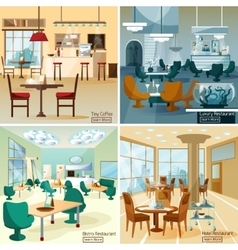 Restaurant Bar 4 Flat Icons Square vector image vector image