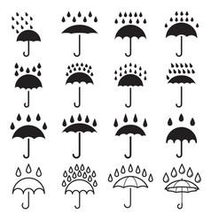 umbrella and rain drops icons vector image vector image
