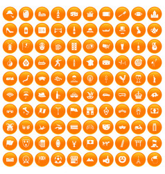 100 tourist attractions icons set orange vector