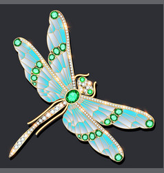 A dragonfly brooch made gold with precious vector