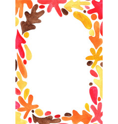 abstract colorful autumn leaves watercolor frame0 vector image