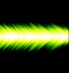 abstract green light arrow energy speed on black vector image