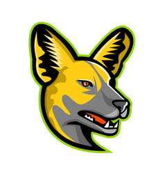 african wild dog mascot vector image