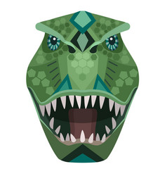 Angry t-rex raptor head logo decorative vector