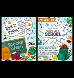 Back to school study stationery posters vector