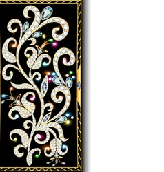 Background with ornaments of gold and precious sto vector