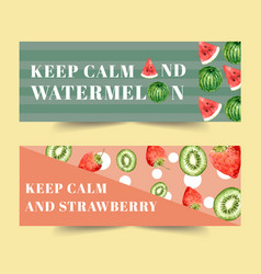 Banner design with fruits concept watercolor vector