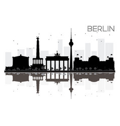 Berlin city skyline black and white silhouette vector