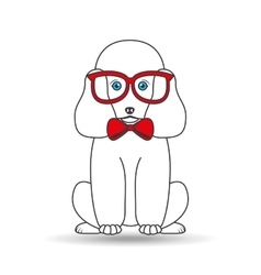 Big poodle sitting with red glasses vector