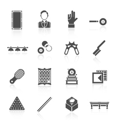 Billiards Black Icons Set vector image