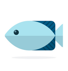 Blue oceanic fish flat isolated vector