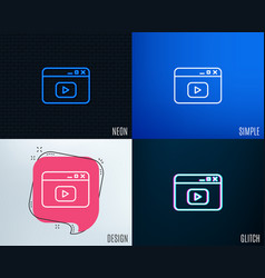 Browser window line icon video content sign vector