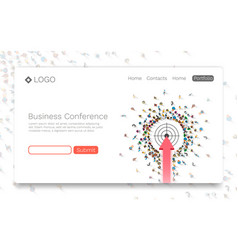 Business conference landing page concept vector