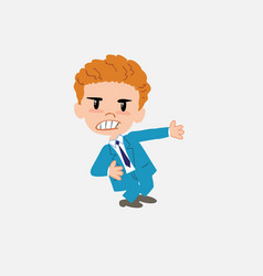 businessman shows very angry something to his left vector image