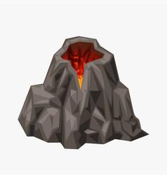 Cartoon volcano isolated on white vector