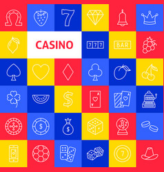 casino line icons vector image