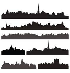 city silhouett set european cityscape views vector image