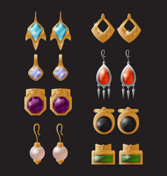 Collection expensive earrings isolated vector