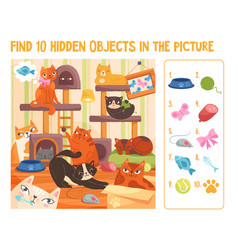 colorful papersheet game find 10 hidden objects vector image