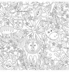 Coloring seamless pattern with jungle animals vector