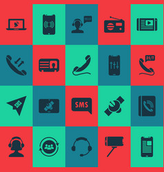 connection icons set with headphone handset vector image