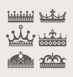 Crown heraldic royal icons vector