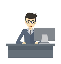 design of professional working at his desk vector image