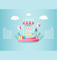 digital marketing online on mobile application vector image