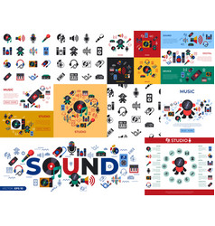 digital sound design and instruments vector image