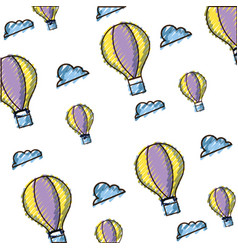 doodle air balloon fly background design vector image