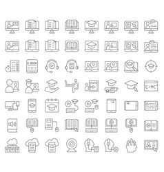 E learning and educated online icon set outline vector