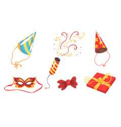 elements and accessories for party masquerade vector image