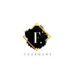 f letter logo design with black stroke and golden vector image