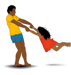father rotate girl vector image