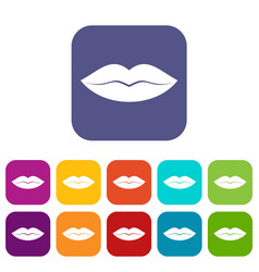 female lips icons set vector image