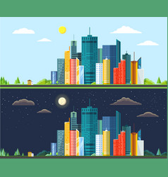 flat style modern design day and night urban vector image