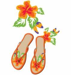 Flip flop flowers vector