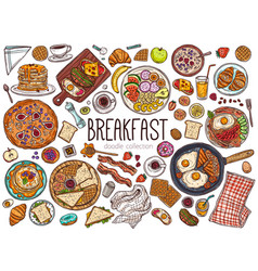 fod breakfast dishes hand drawn vector image