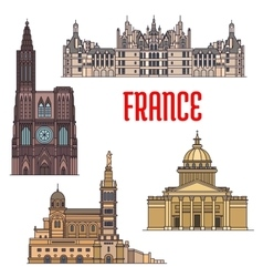 French travel sights icon in thin line style vector image