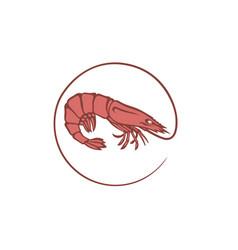 Fresh shrimp icon vector